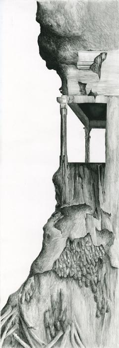 Facade, inktense pencil on paper, 26 x 76.5 cm, 2013